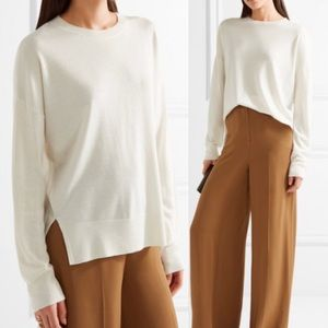 Theory Cashmere Karenia white wool sweater LARGE